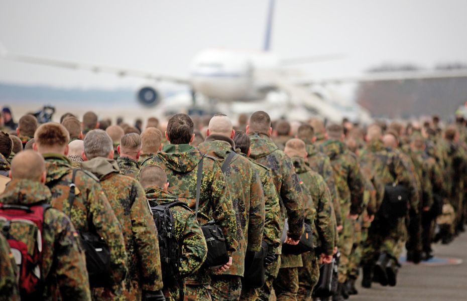 Troops boarding aircraft