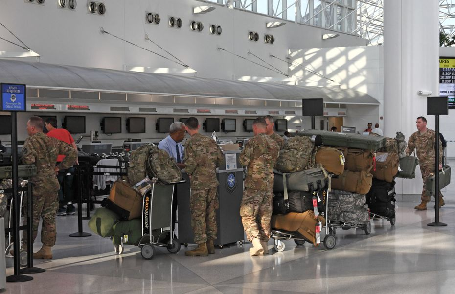 Troops checking in for a flight
